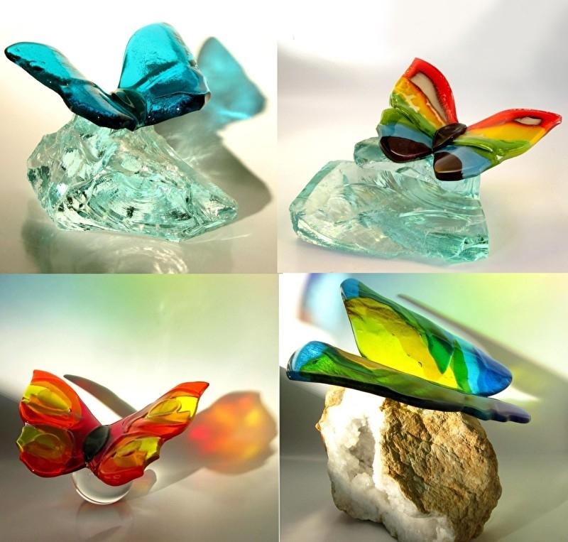 Vier wenskaarten met vlinders