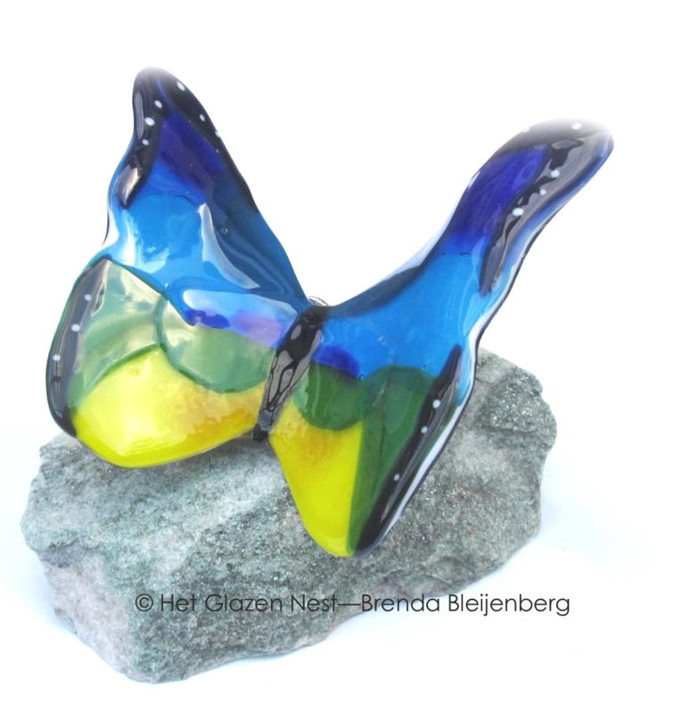 Grote glas vlinder in blauw, geel en groen