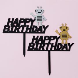 Acryl topper Happy birthday robot
