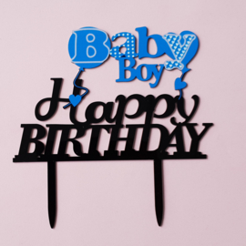 Acryl topper Baby boy happy birthday ( vrij groot)