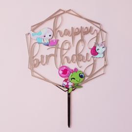 Acryl topper Happy birthday ( vrij groot)