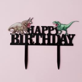 Acryl topper Happy birthday dino ( vrij groot)