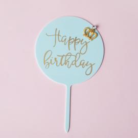 Acryl topper Happy birthday kroontje