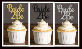 Toppertje Bride 2 Be (goud/zwart/zilver)
