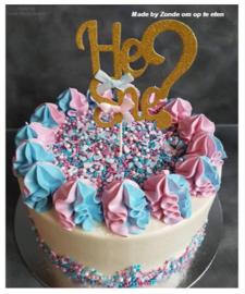 He or She topper groot (voor op een taart)