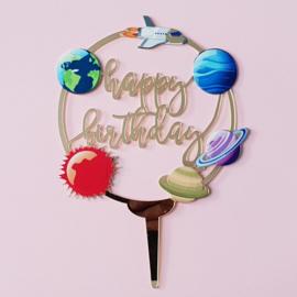 Acryl topper happy birthday space