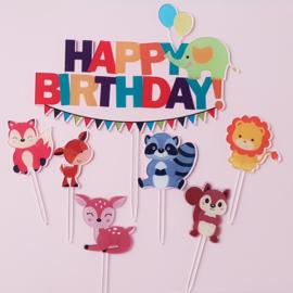 Acryl topper set Happy birthday ( set van 7 stuks)