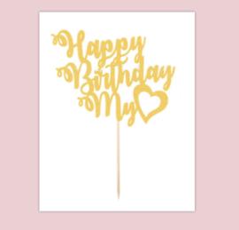 Topper Happy birthday my love (papier/karton)