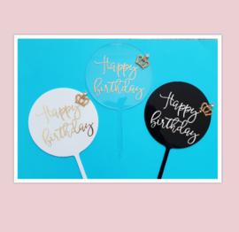 Acryl topper Happy birthday kroontje ( 3 kleuren)