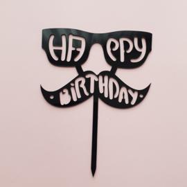 Acryl topper Happy birthday bril/snor