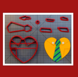 3-D uitsteker hart/stropdas  ( 5 en 10  cm)