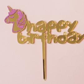 Acryl topper Happy birthday eenhoorn