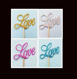 Love toppertje ( 5 stuks) papier/karton