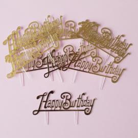 Acryl cupcake toppers happy birthday klein ( 10 stuks)