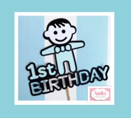 Partijtje 1 ST Birthday ( Boy) ( 5 toppers)