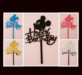 Acryl topper Happy birthday ( 5 kleuren)