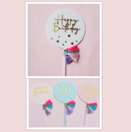 Acryl topper Happy birthday ( 4 kleuren)