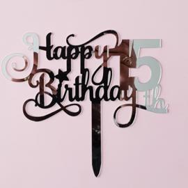 Acryl topper Happy 15 th birthday ( vrij groot)