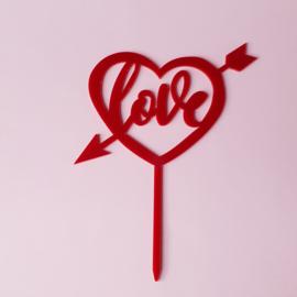 Acryl topper Love ( rood en goud)