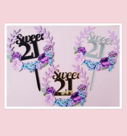 Acryl topper sweet 21 ( 3 kleuren)