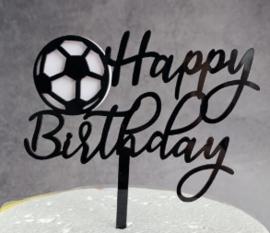Acryl topper Happy birthday voetbal