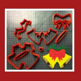 3-D uitsteker kerstklokken  ( 5 / 7,5 en 10 cm)