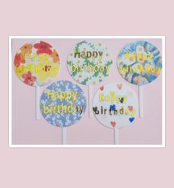 Acryl topper Happy birthday ( 5 soorten)