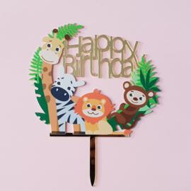 Acryl topper happy birthday jungle
