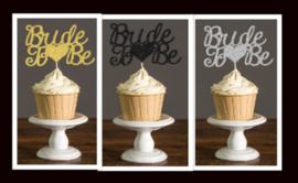 Toppertje Bride to be (goud/zwart/zilver)