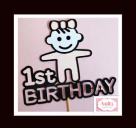 Partijtje 1 St Birthday (Girl) ( 5 toppers)