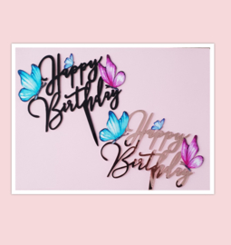 Acryl topper Happy birthday vlinder ( vrij groot)