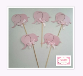 Aanbieding cupcake toppertjes olifantjes ( 10 x 5 stuks)