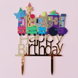 Acryl topper happy birthday treintje
