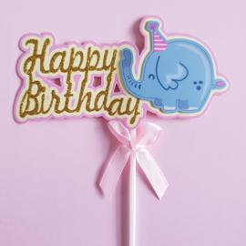 Happy birthday topper Olifant