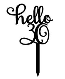 Acryl topper Hello 16/18/21/30/40