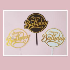 Acryl topper Happy birthday -strass steentje ( 3 kleuren)