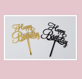 Acryl topper Happy birthday ( goud of zwart)