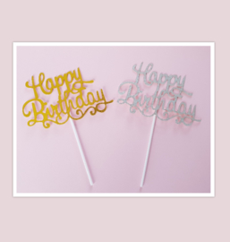 Topper Happy birthday  ( goud of zilver)