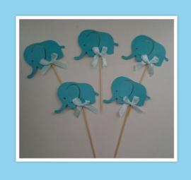 Aanbieding cupcake toppers olifantjes ( 10 x 5 stuks)
