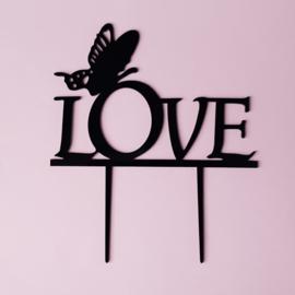 Acryl topper Love vlinder ( goud of zwart)