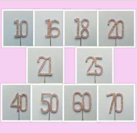 Strass topper nummer 10/16/18/20/21/25/40/50/60/70 Zilverkleur