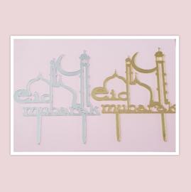 Acryl topper Eid mubarak ( vrij groot)