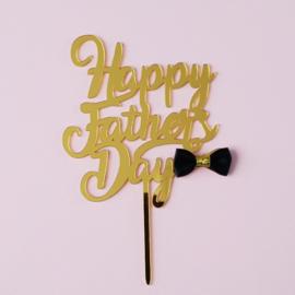 Acryl topper Happy fathers day / strikje