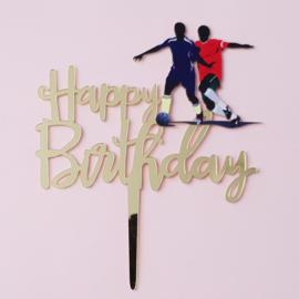 Acryl topper Happy birthday voetbal ( vrij groot)
