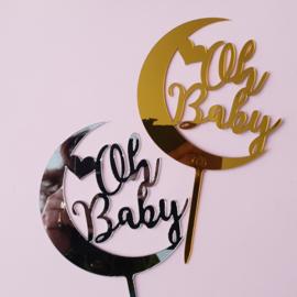 Acryl topper Oh Baby  ( 2 kleuren)