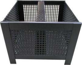 Pelletkorf, zwart vierkant, 24x24x18 cm