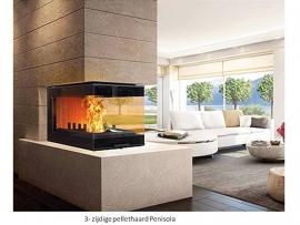 Pellicano drie zijdige  hout en pellet haard  14 kW