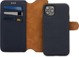 iPhone 12 Pro Max: MINIM 2 in 1 leather Bookcase wallet (Blauw)