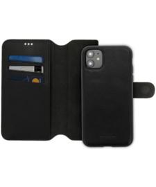 iPhone 12 / 12 Pro: MINIM 2 in 1 leather Bookcase wallet (Zwart)