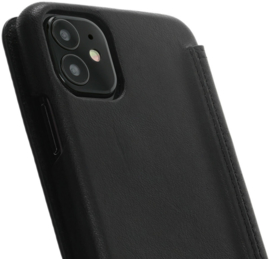 iPhone 12 mini: MINIM  leather Bookcase  (Zwart)